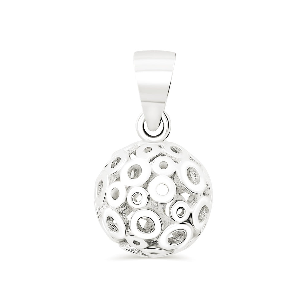 Sterling Silver Polished Hollow Ball Circle Pendant 3