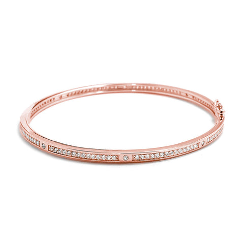 Cubic Zirconia Eternity Rose Gold Over 925 Sterling Silver Bangle 4mm