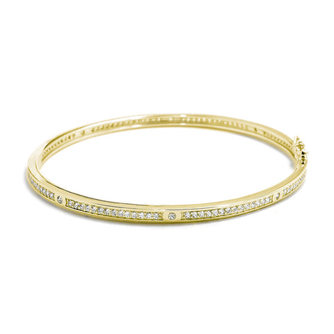 Cubic Zirconia Eternity Gold Over 925 Sterling Silver Bangle 4mm