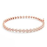 Rose Gold Plated 925 Silver Fancy Cubic Zirconia Eternity Bangle - Jewelry - Prjewel.com - 1