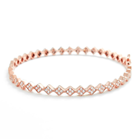 Rose Gold Plated 925 Silver Fancy Cubic Zirconia Eternity Bangle