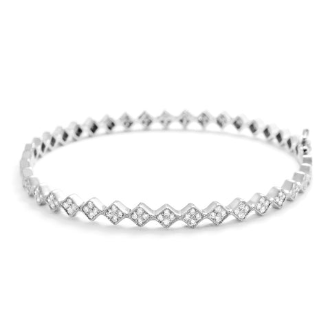 Sterling Silver Fancy Cubic Zirconia Eternity Bangle - Jewelry - Prjewel.com - 1