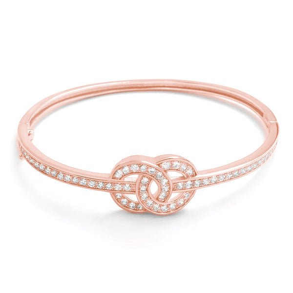 Charming CZ Rose Gold Plated Silver Infinity Bangle - Jewelry - Prjewel.com - 1