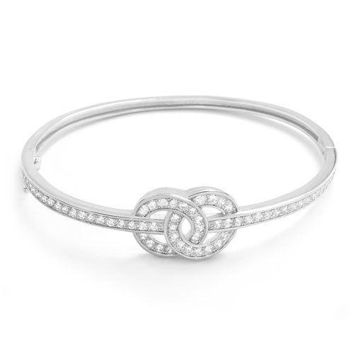 Charming CZ 925 Sterling Silver Infinity Bangle