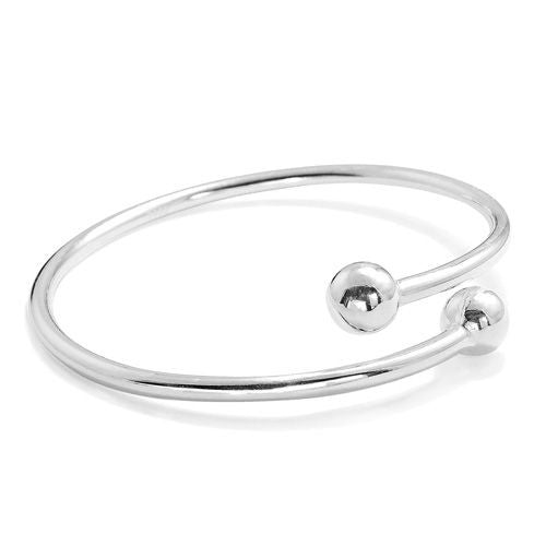 Double Ball Silver Bangle - Jewelry - Prjewel.com - 1