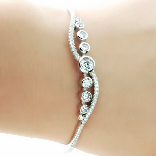 Elegant Cubic Zirconia Sterling Silver Bangle 2