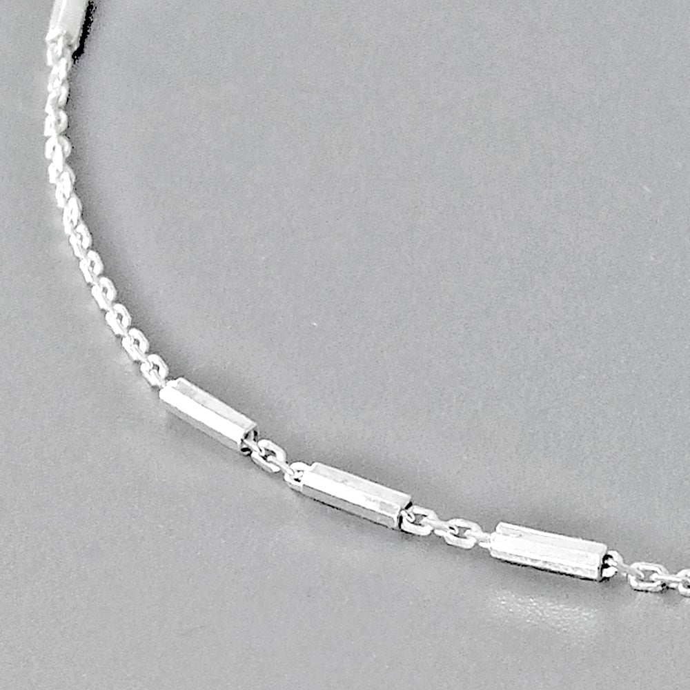 Sterling Silver Cable Bar Italy Chain Bracelet 2