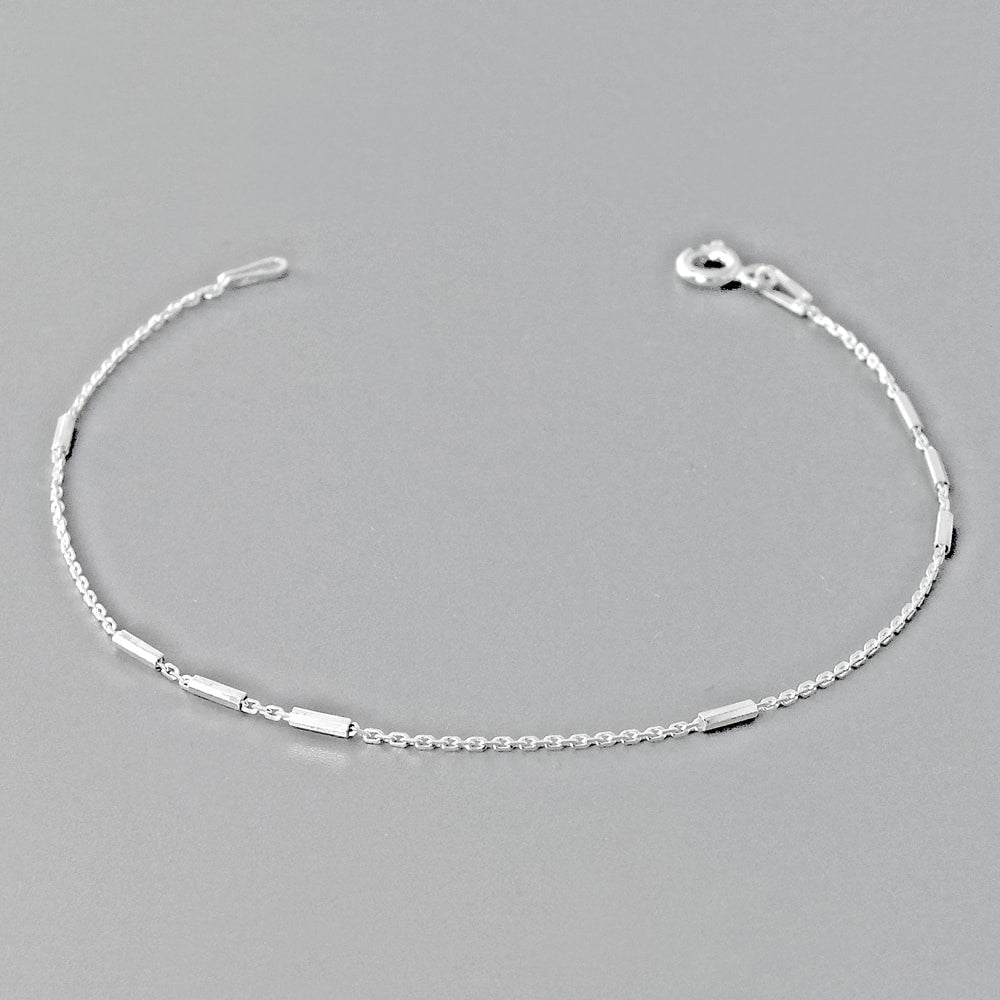 Sterling Silver Cable Bar Italy Chain Bracelet