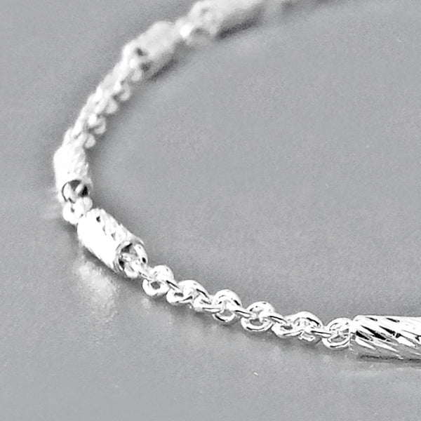 Italy 925 Silver Chain Shiny Bar Bracelet