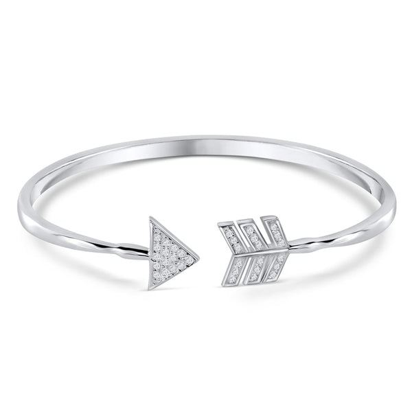 Sterling Silver CZ Arrow Bangle