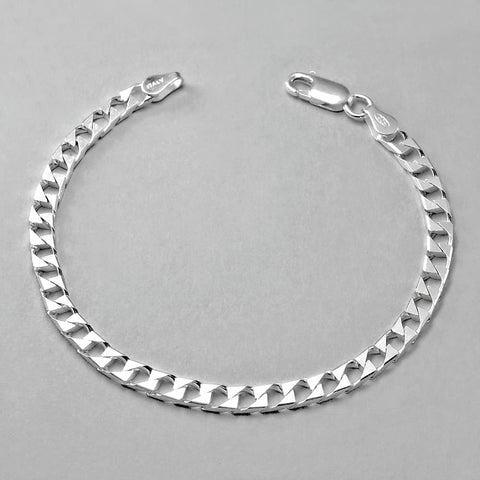 Sterling Silver Italian Diamond Cut Bevelled Flat Bracelet