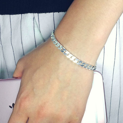 Italian Diamond Cut Bevelled Sterling Silver Bracelet