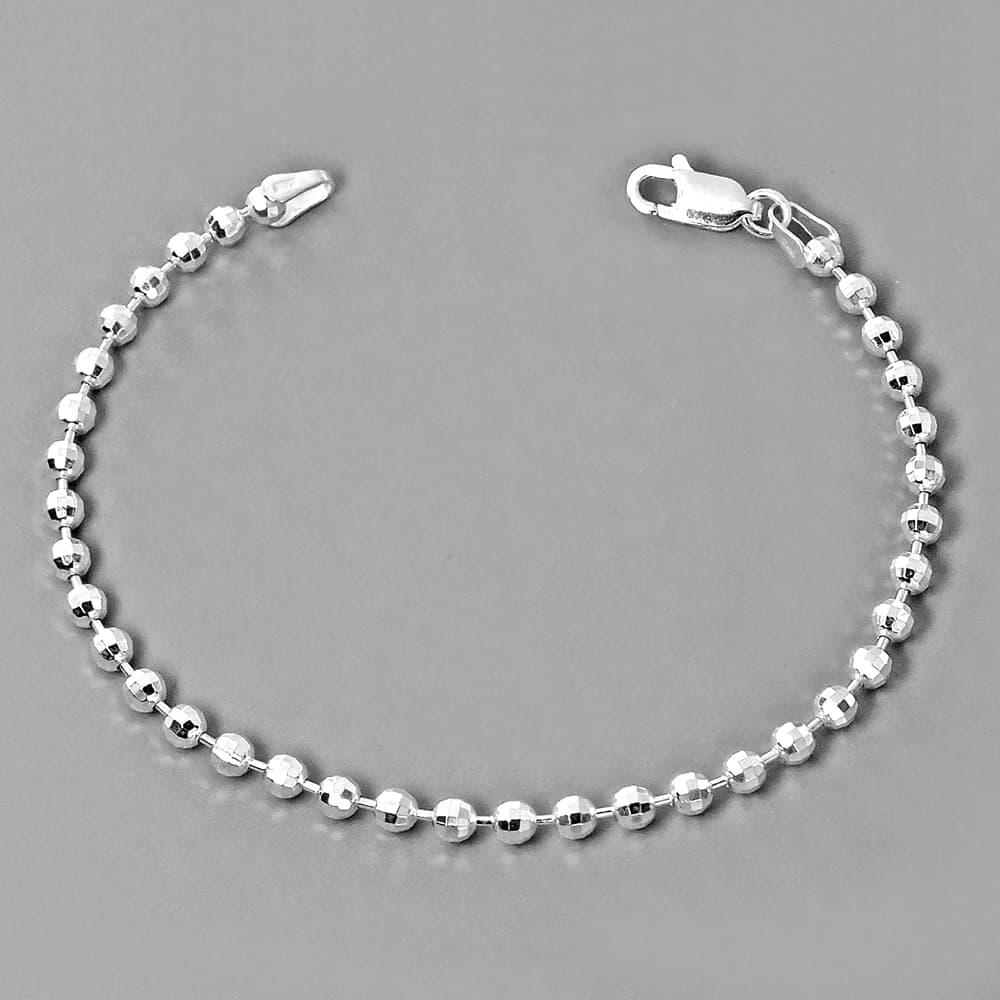 Italy Sterling Silver Diamond Cut Bead Ball Chain Bracelet B