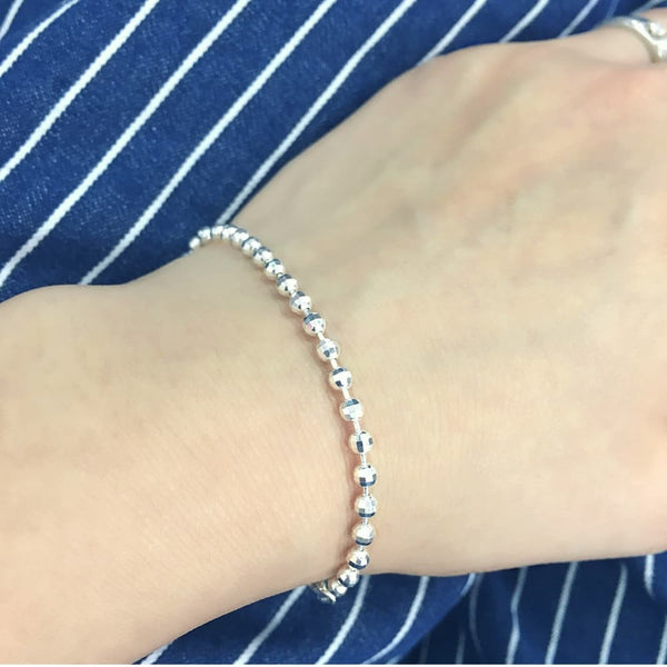 Italy Sterling Silver Diamond Cut Bead Ball Chain Bracelet