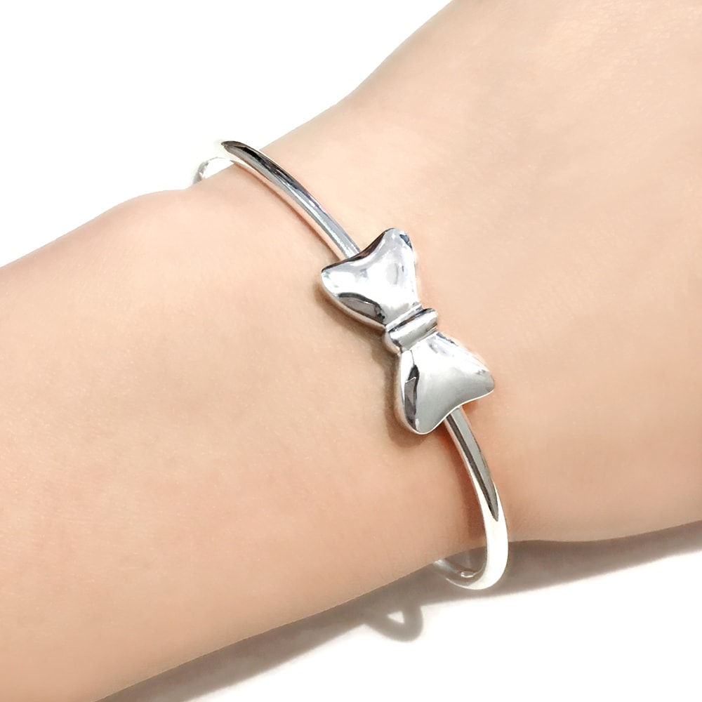 Pure Silver Bow Bangle Bracelet B