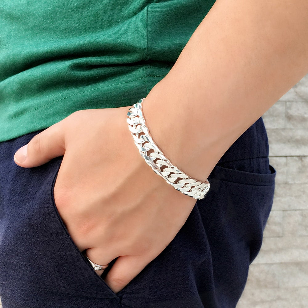 Italian Sterling Silver Diamond Cut Cuban Link Men's Bracelet 2