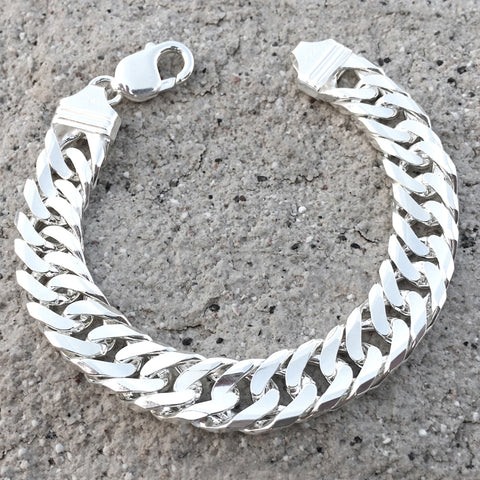Italian Sterling Silver Diamond Cut Cuban Link Men's Bracelet