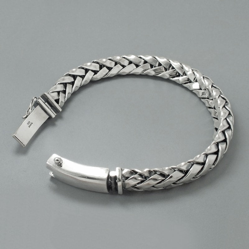 Solid Sterling Silver Woven Bracelet for Men - Mens Jewelry Online 4