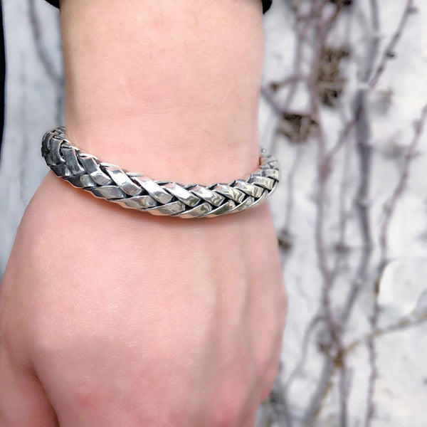 Solid Sterling Silver Woven Bracelet for Men - Mens Jewelry Online 5