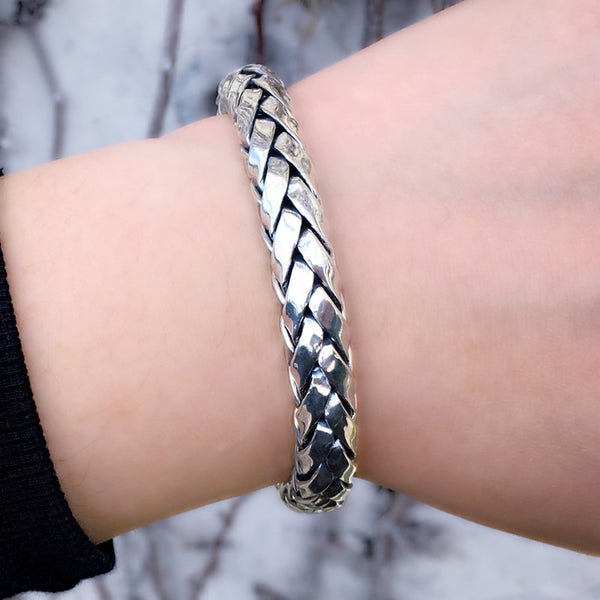 Solid Sterling Silver Woven Bracelet for Men - Mens Jewelry Online 6