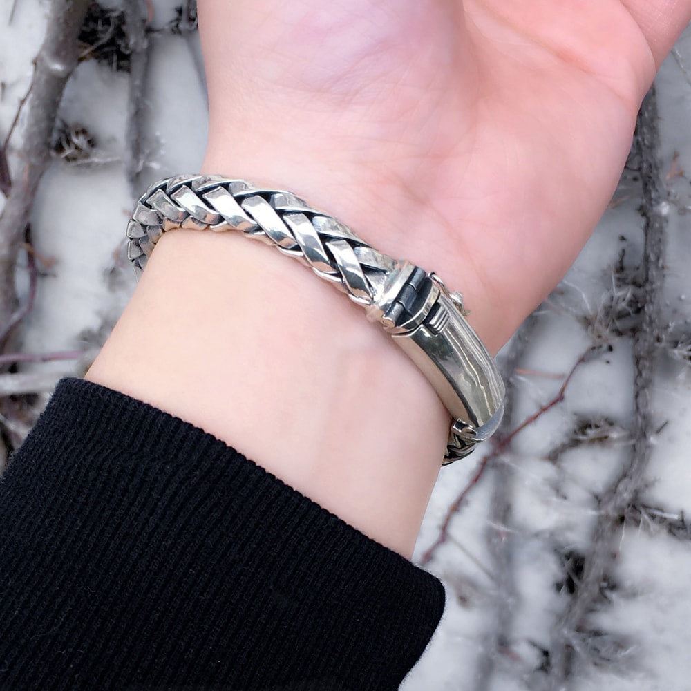 Solid Sterling Silver Woven Bracelet for Men - Mens Jewelry Online 7