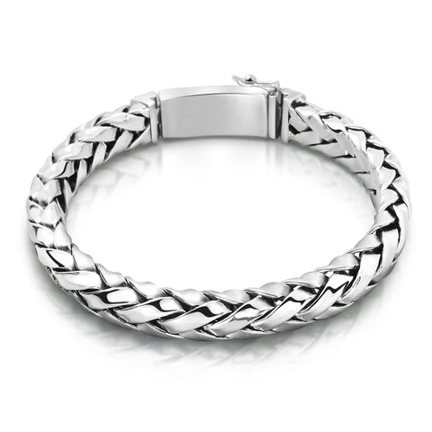 Solid Sterling Silver Woven Bracelet for Men - Mens Jewelry Online