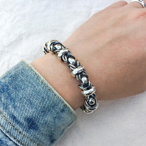 Solid Sterling Silver Fashion Men Bracelet