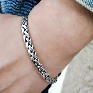 Braided Solid Sterling Silver Bracelet for Men2