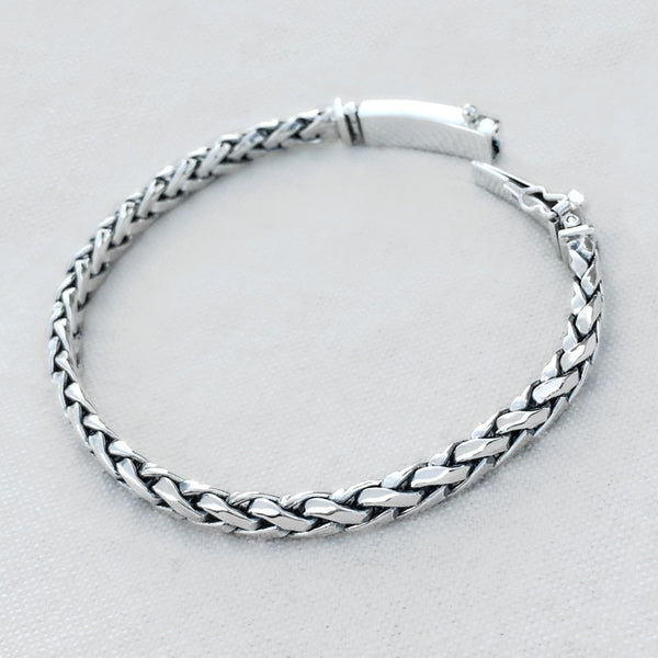 Braided Solid Sterling Silver Bracelet for Men 3