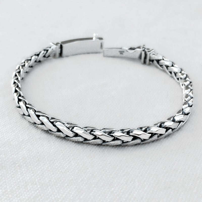 Braided Solid Sterling Silver Bracelet for Men 4