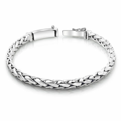 Braided Solid Sterling Silver Bracelet for Men