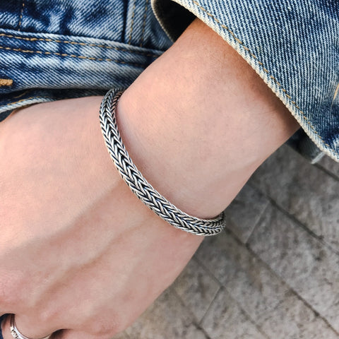 Sterling Silver Braided Chain Bracelet for Men 2