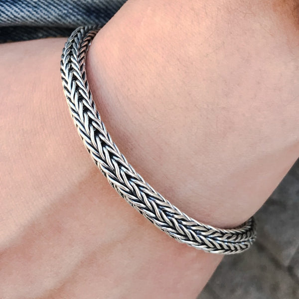 Sterling Silver Braided Chain Bracelet for Men 3