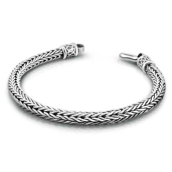 Sterling Silver Braided Chain Bracelet for Men