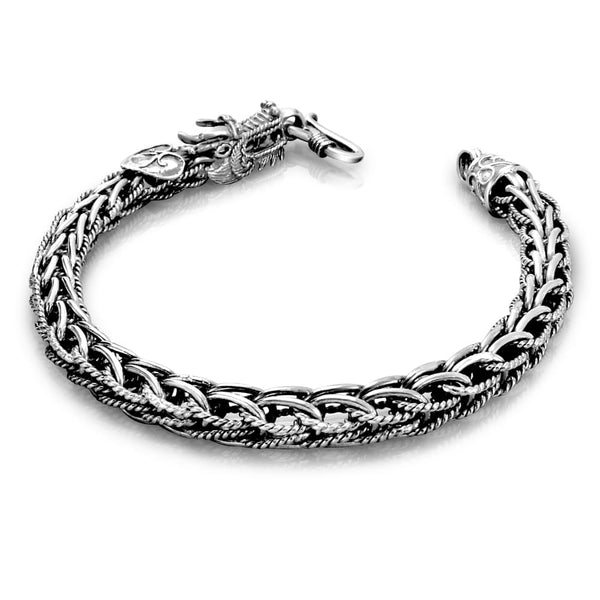 Solid Sterling Silver Dragon Men Bracelet