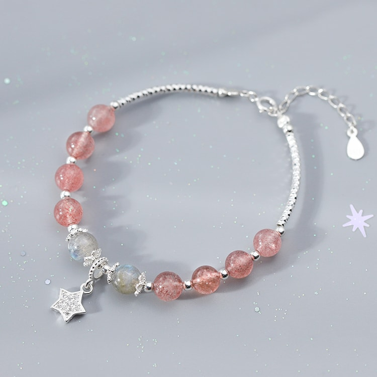 Sterling Silver Natural Strawberry crystal Beaded Bracelet 6
