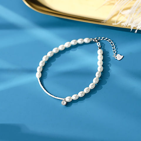 Sterling Silver Shell Pearl String Bracelets