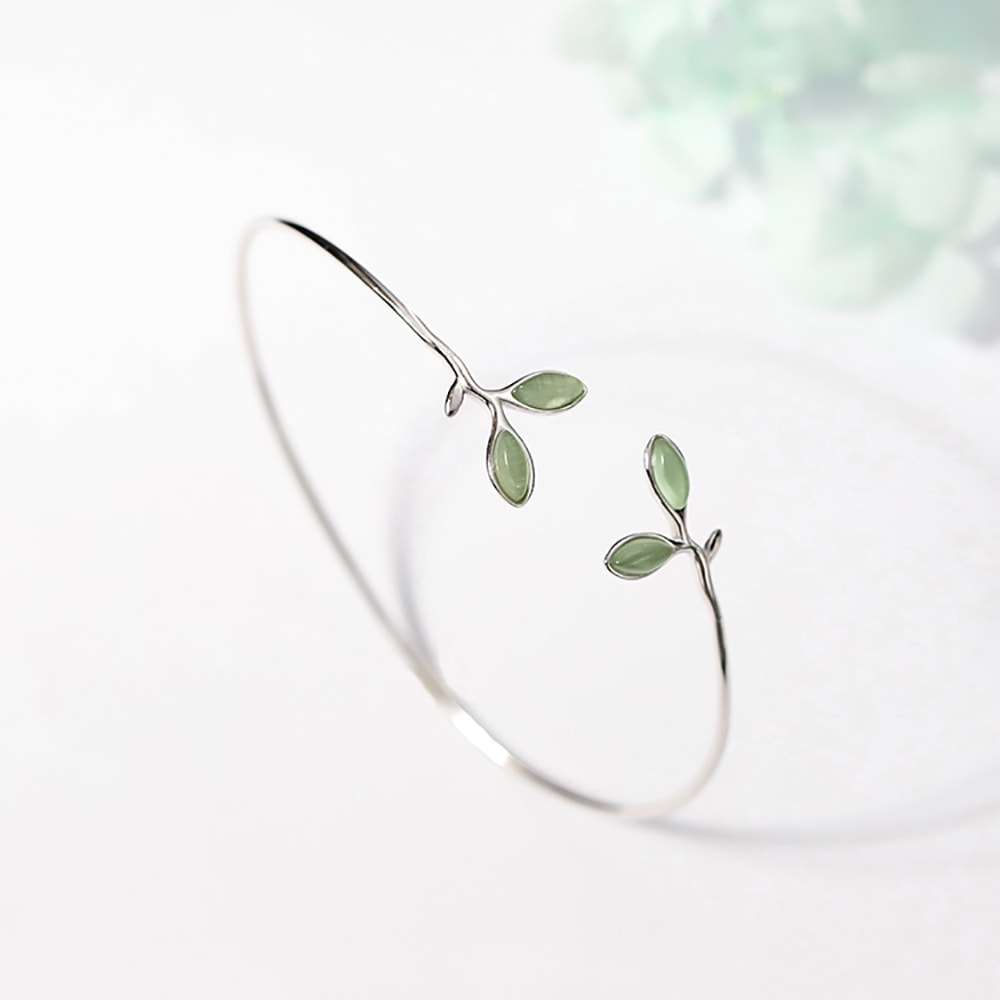 Sterling Silver Charm Leaf Adjustable Bangle Gift for Women Girls 4