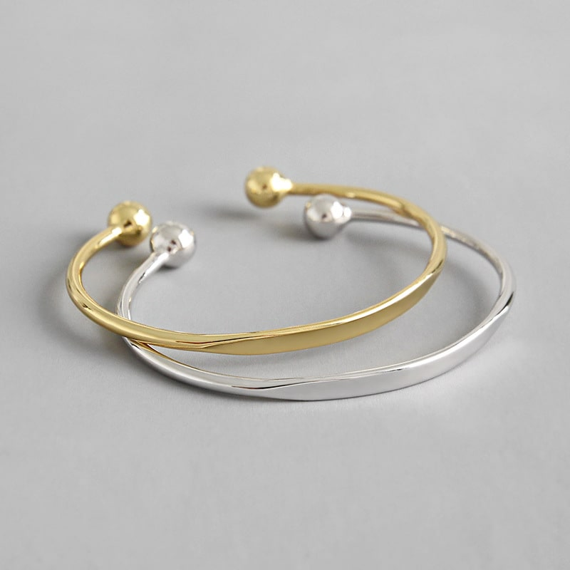 925 Sterling Silver Plated Fashion Simple Open Bangle