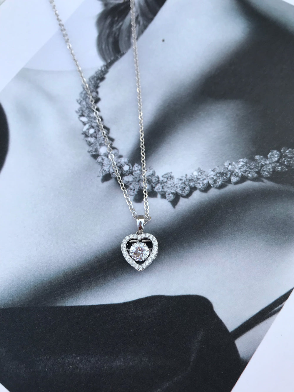Sterling Silver Gorgeous CZ Dangling Heart Necklace