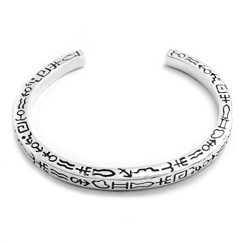 Hieroglyphic 925 Sterling Silver Bangle - Jewelry - Prjewel.com - 2