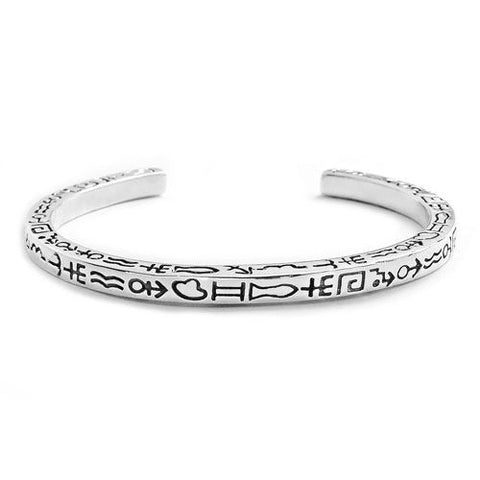Hieroglyphic 925 Sterling Silver Bangle