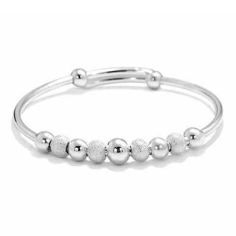 Charming 7 mm Cute Ball Silver Bangle