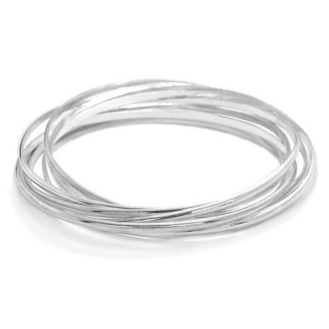Sterling Silver Circles Bangle - Jewelry - Prjewel.com - 1
