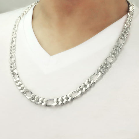 Sterling Silver Figaro Link Chain Necklace For Mens