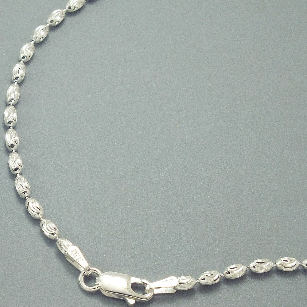 Sterling Silver 3MM Italian Oval Bead Chain 2