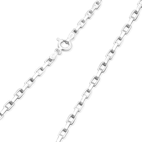 Sterling Silver 2MM Square Link Necklace Chain