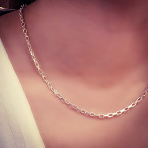 Sterling Silver Square Link Necklace Chain 2
