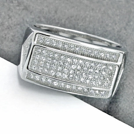 Beautiful Elegant Micro Pave Setting Cubic Zirconia 925 Sterling Silver Ring