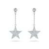 Sterling Silver Cubic Zirconia Stars Dangling Earrings